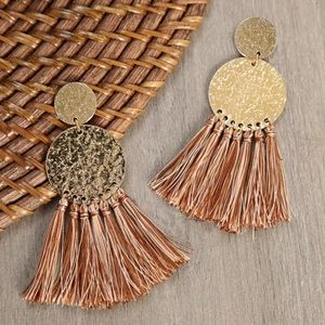 Golden Hammered Earrings with Tassel Accent